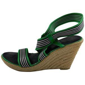 "9 Vintage Style Green Wht Strip 5"" Strap Wedge"